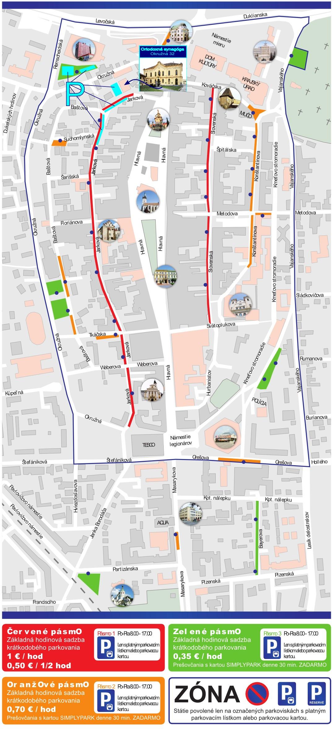ARTIS 2015 - Mapa parkovania. Kredit: www.presov.sk