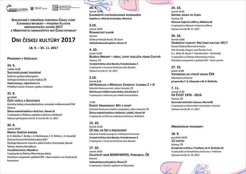 Dni českej kultúry 2017, programy v Košiciach