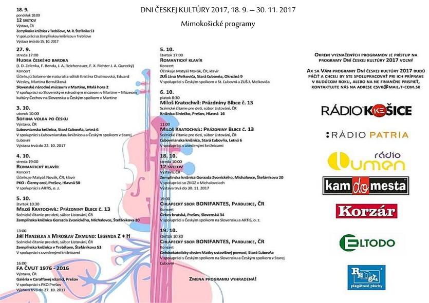 Dni českej kultúry 2017, mimokošické programy